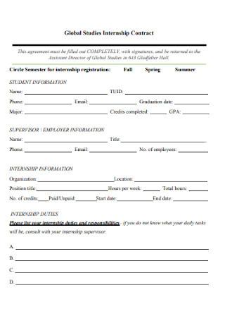Global Studies Internship Contract