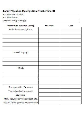 Goal Tracker Sheet