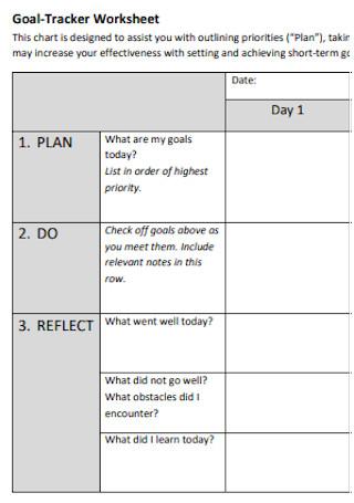 Goal Tracker Workssheet