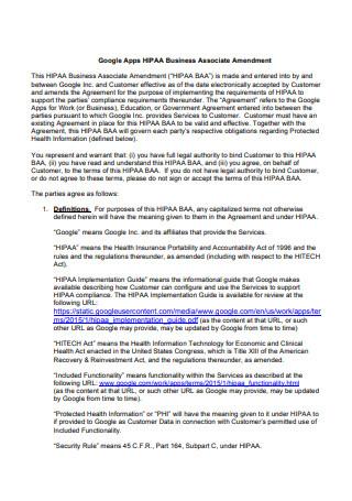 Google Apps HIPAA Business Associate Agreement