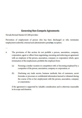 Governing Non Compete Agreement