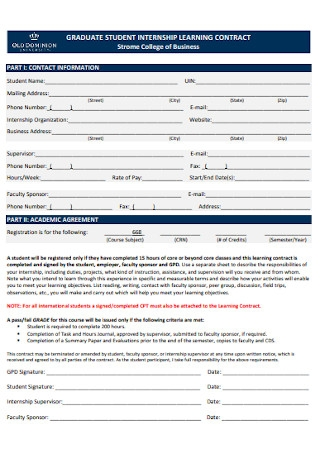 Graduate Student Learning Contract