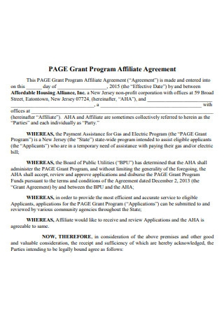 Grant Program Affiliate Agreement