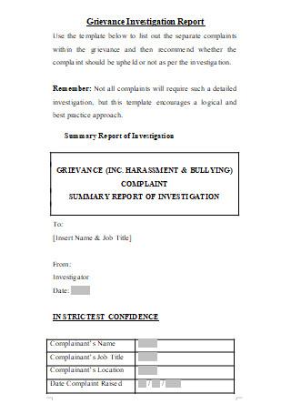 Grievance Investigation Report