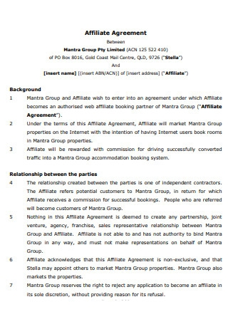 Group Affiliate Agreement