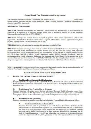 Group Health Plan Business Associate Agreement