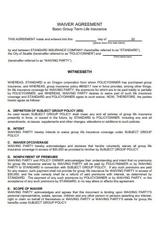 Group Term Life Insurance Waiver Agreement
