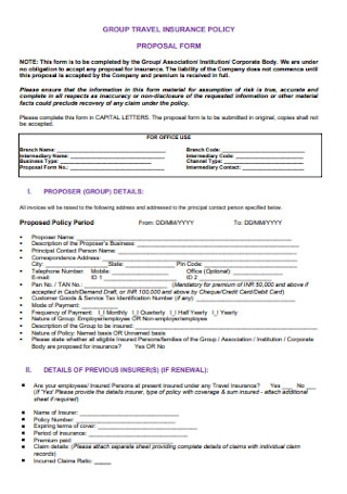 Group Travel Insurance Proposal Form