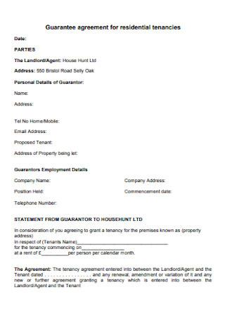 Guarantee Agreement for Residential Tenancies