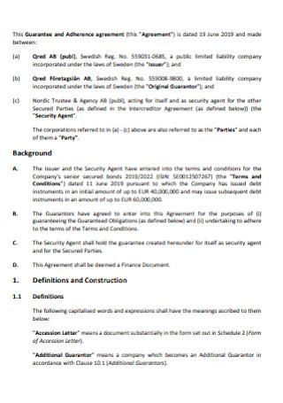 Guarantee and Adherence Agreement
