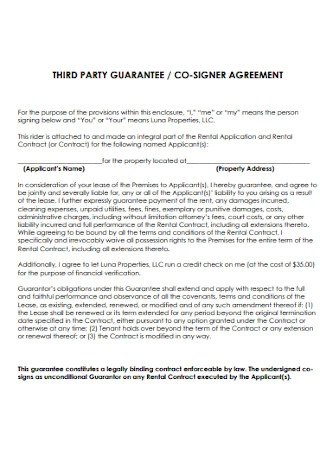 Guarantee and Co Signer Agreement