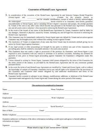 Guarantee of Rental and Lease Agreement