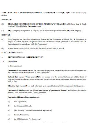 Guaranttee and Reimbursement Agereement