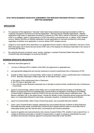 HIPAA Business Associate Agreement For Services