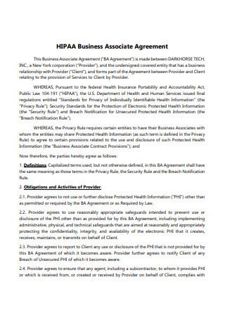 HIPAA Business Associate Agreement Format