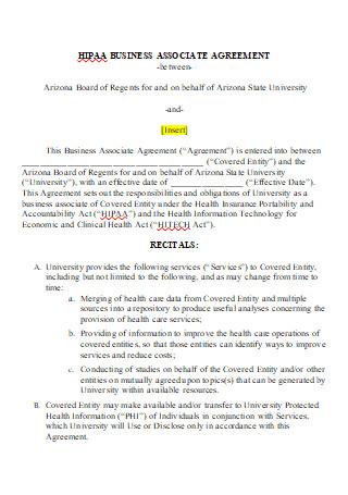 HIPAA Business Associate Agreement in DOC