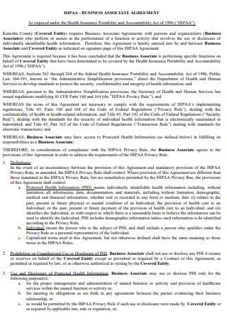 HIPAA Business Associate Agreement in PDF