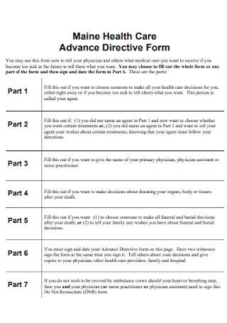 Health Care Advance Directive Form