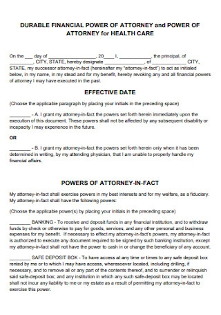 Health Care Financial Power of Attorney