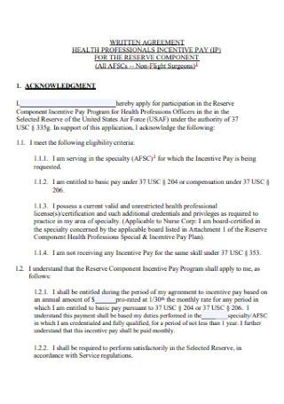 Health Written Agreement