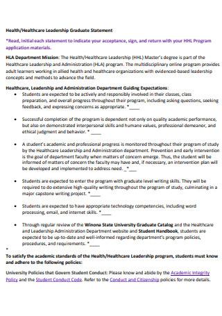 Healthcare Leadership Graduate Statement