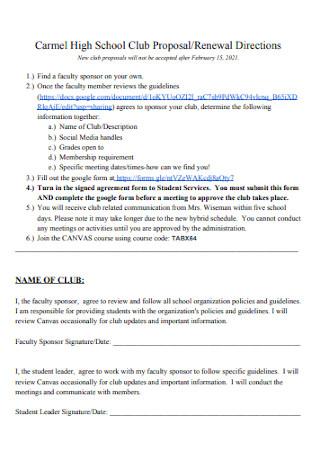 High School Club Proposal