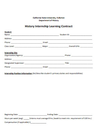 History Internship Learning Contract