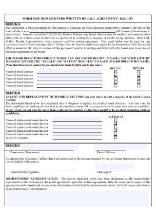 Homeowners Written Recall Agreement