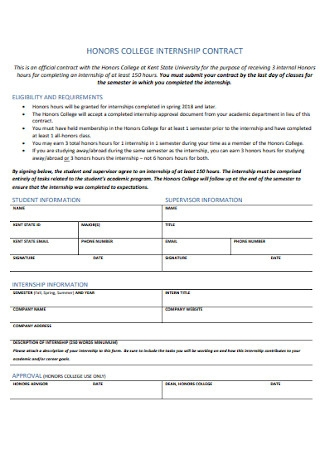 Honors College Internship Contract