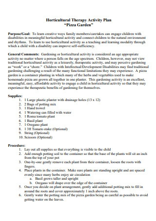 Horticultural Therapy Activity Plan