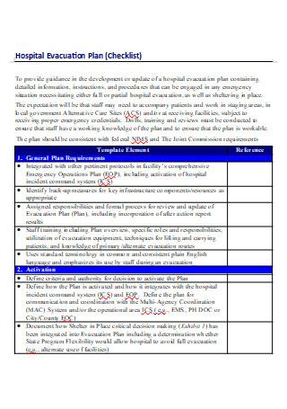 Hospital Evacuation Plan Checklist