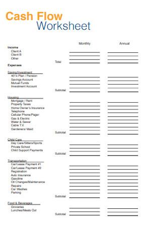 Hosuing Cash Flow Worksheet