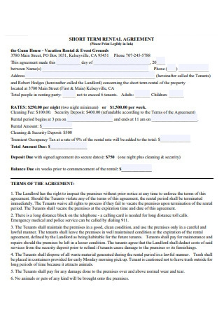 House Short Term Rental Agreement