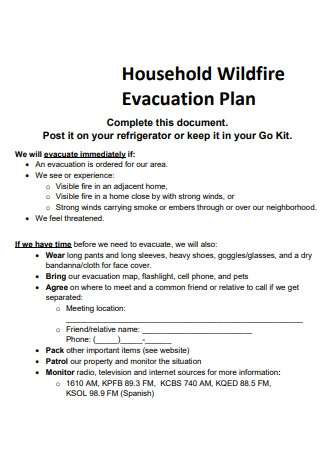 Household Evacuation Plan