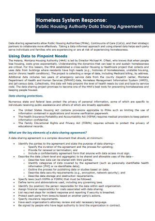 Housing Authority Data Sharing Agreements