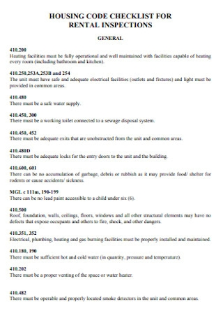 Housing Code Checklist for Rental Inspection