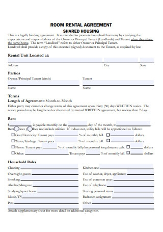 Housing Room Rental Agreement