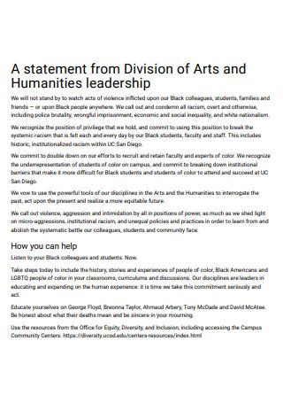 Humanities Leadership Statement