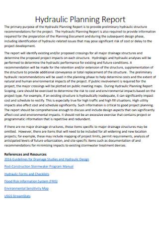 Hydraulic Planning Report