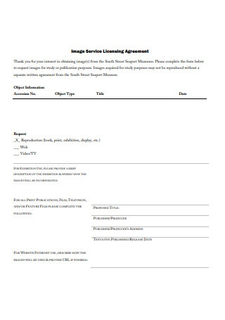 Image Service Licensing Agreement