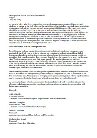 Immigration Letter to House Leadership