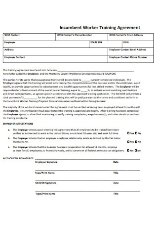 Incumbent Worker Training Agreement