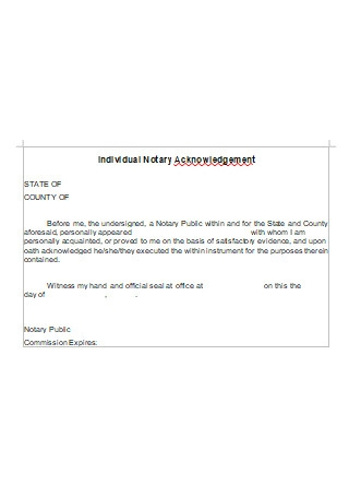 Individual Notary Acknowledgement