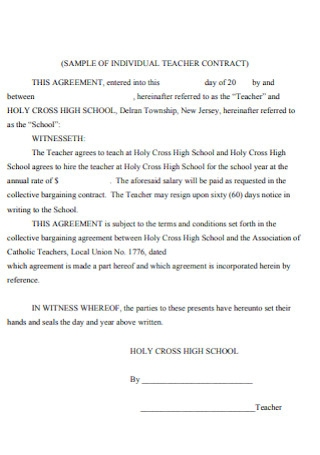 Individual Teacher Contract