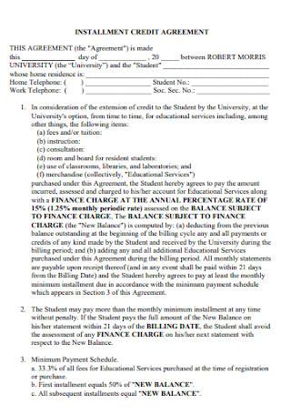 Installment Credit Payment Agreement