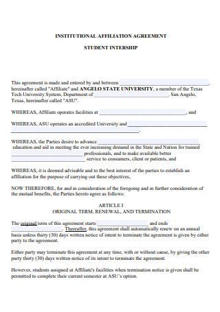 Institutional Affiliate Agreement