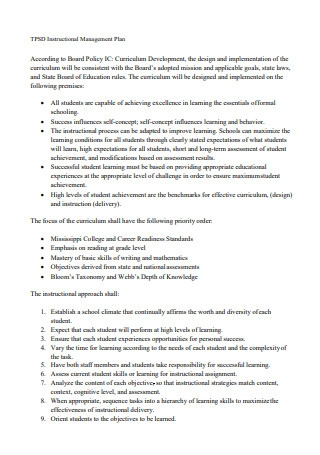 Instructional Management Plan