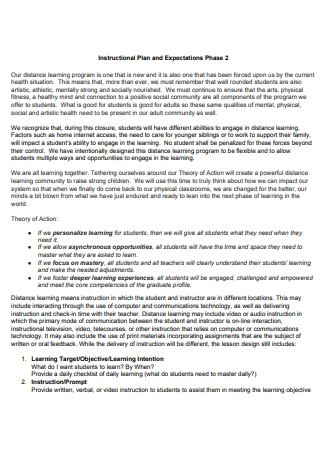 Instructional Plan and Expectations