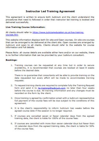 Instructor Led Training Agreement