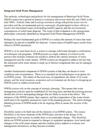 Integrated Solid Waste Management Plan